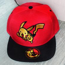 Anime Pocket Monster Cosplay Cap Black Red Novelty cartoon Pikachu ladies dress Pokemon Hat charms Costume Props Baseball cap