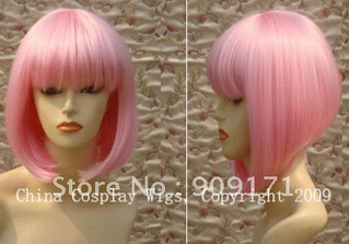ZCS 801 AAA 0000905 Free Shipping +Heat Resistant-Light pink Chin Length short BOB party cosplay hair wig(China (Mainland))