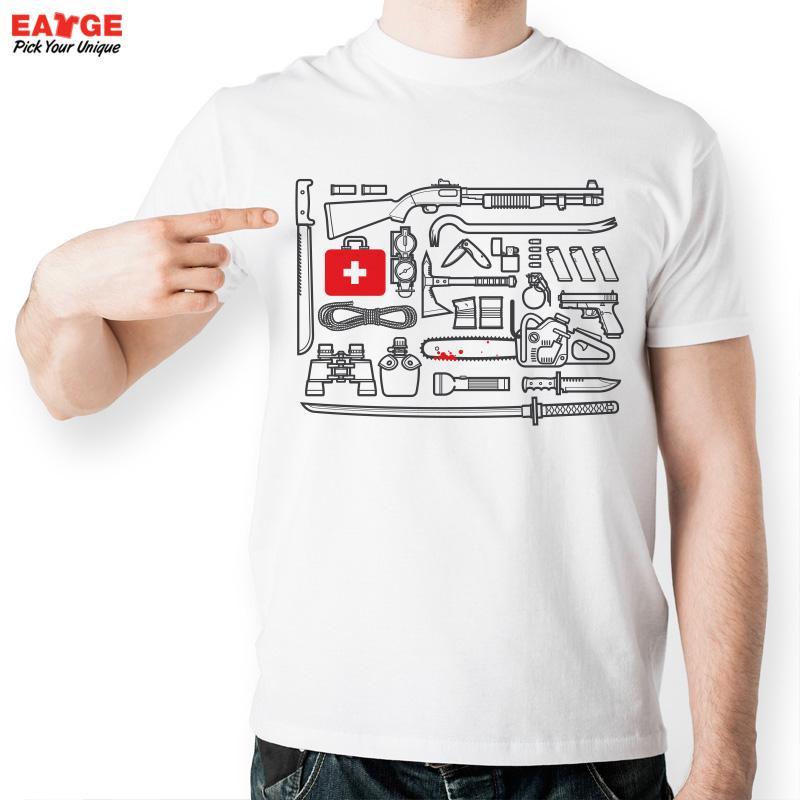[EATGE] Popular American Drama The Walking Dead T Shirt Funny Tool Kit Set Printed Tshirt Fashion Men Short Sleeve T-shirt(China (Mainland))
