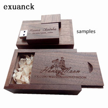 Wedding Photography Gift Customized ODM LOGO Walnut Wooden Usb 2.0 Memory Stick Flash Pen Drive 4gb-32gb (over 20 Pcs Free Logo)(China (Mainland))