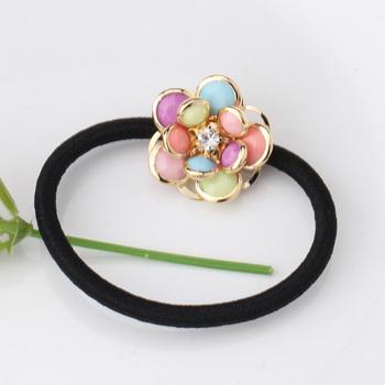 Милый прекрасный цветок эластичный волос веревки связи Hairband головные уборы эластичные резинки женщины хвост держатель аксессуарами алмаз