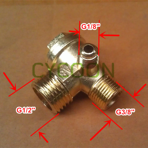 G1/2''-G3/8''-G1/8'', Zinc Alloy plating brass non-return check valve for 24L 50L air compressor, spare parts(China (Mainland))
