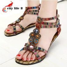 2014 bohemia sandals flat national trend gem beaded flat heel sandals women's shoes