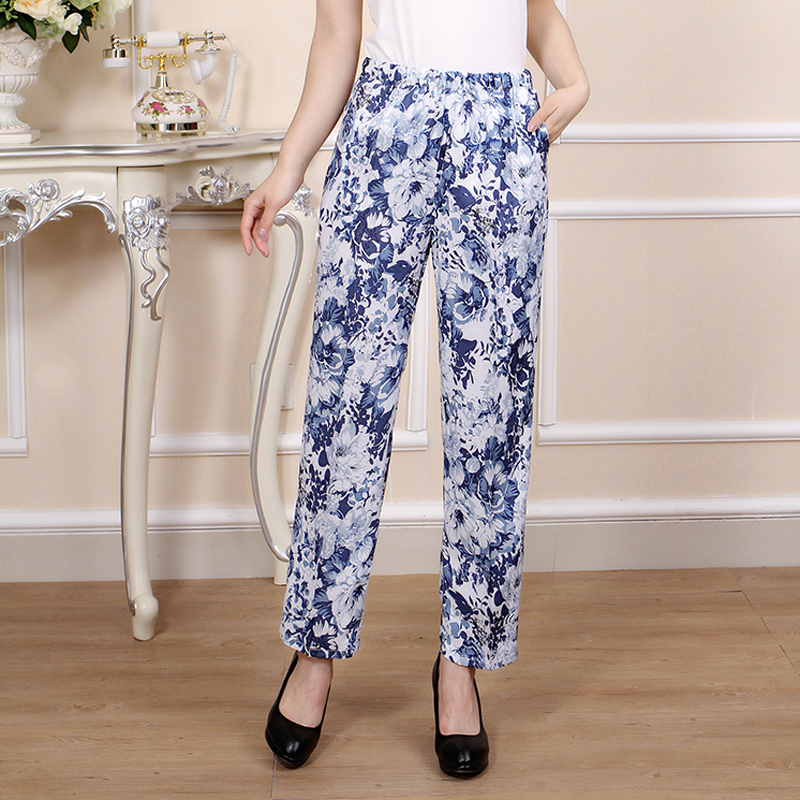 2015 new women pants Nine sub trousers cotton linen casual trousers floral printing pencil pants elastic waist pants flower art(China (Mainland))