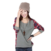 Autumn Winter Lady Plaid O Neck Long Sleeve Casual Patchwork Cotton Loose Shirt Tops Blouse Casual Blusas Femininas Women #67161(China (Mainland))