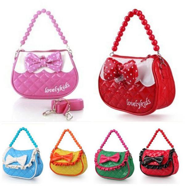 New Fashion Baby Girls Princess Bow PU Leather Shoulder Bag Handbag Gifts for Kids Blue/Green/Pink/Red(China (Mainland))