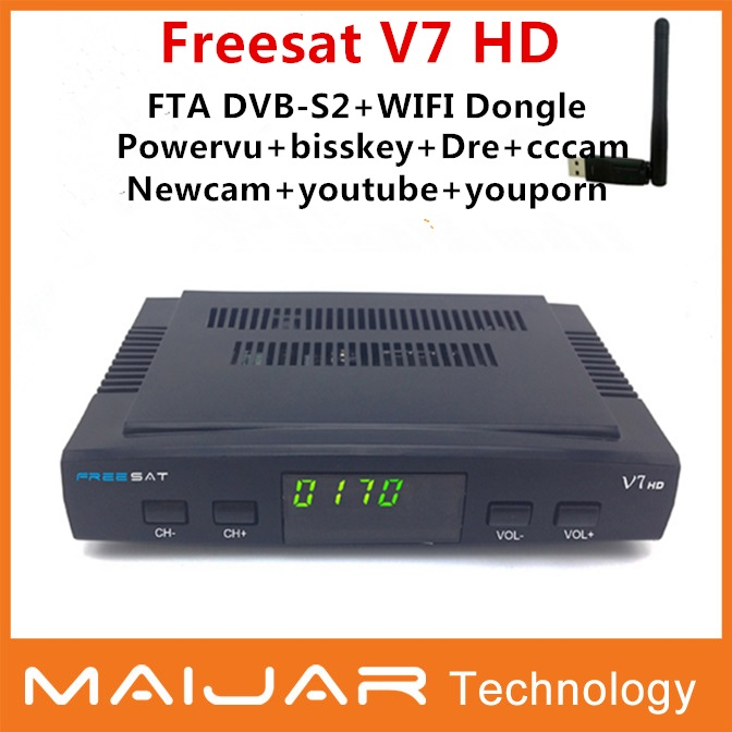 Wholesale Freesat V7 Full 1080P HD DVB-S2 Support Cccam, Newcam can via RT5370 solution usb Wifi dongle Satellite Receiver(China (Mainland))