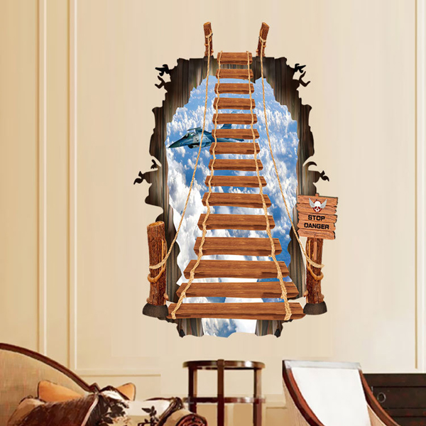 2015 Hot selling!New fashion 2 Size Stairs to Sky 3D wall stickers for kids room ladder Removable wall decals T50(China (Mainland))