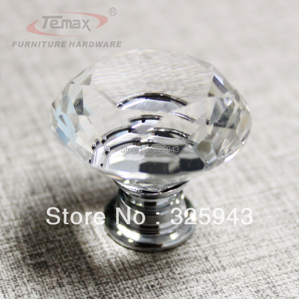 400Pcs 30mm Clear Zinc Glass Crystal Knobs And Handles Cabinet Dresser Drawer