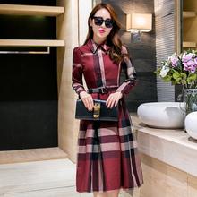Plus size 2016 New spring autumn fashion plaid women's dress long sleeve office lady dress vintage cute women's dress 3 colors(China (Mainland))