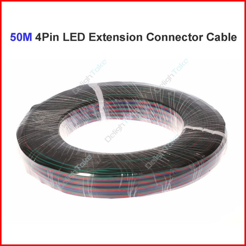 ( 10 reel/lot ) 50 Meters 22AWG 4 Pin RGB LED Extension Connector Wire Cable Cord For 3528 5050 RGB LED Strip Wholesale(China (Mainland))