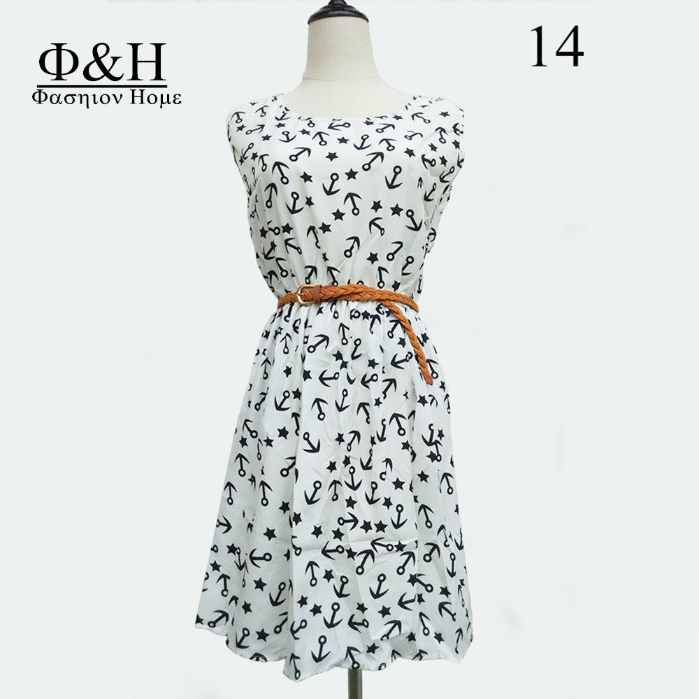F&H 2015 Spring Fashion plus size dress belt sexy Flower party vestido prints women clothes dressess Free express(China (Mainland))