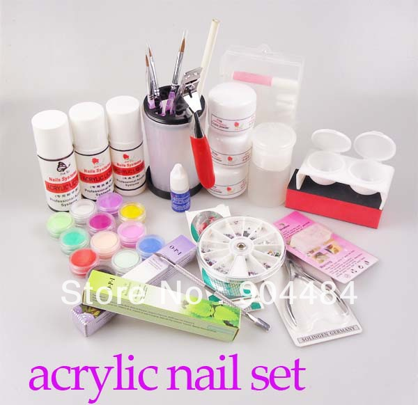 Acrylic powder set diy nail art kit with powder liquid for Acrylic nail decoration supplies