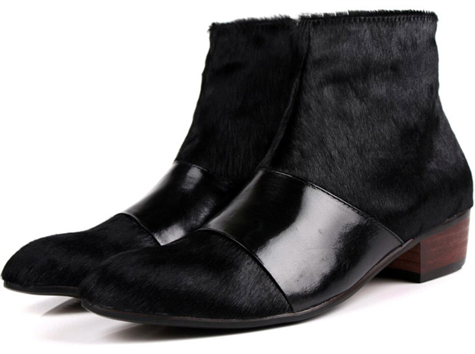 2015 fashion new trend leader horsehair ankle boots korea