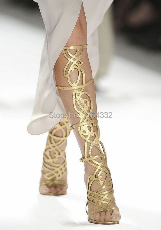 New Fashion 2016 Gladiator Women Boots Gold Leather Knee High Summer Boots Cross-tied Bandage Sandals High Heels Zapatos Mujer<br><br>Aliexpress