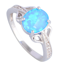 Wedding ceremony Jewellery Rings for girls Blue Hearth Opal 925 Sterling Silver Overlay ring dimension 5 6 7 eight 9 10 R506