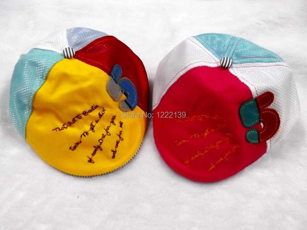 Kids children summer newsboy cotton beret hat mesh gatsby visor cap with number decoration(China (Mainland))