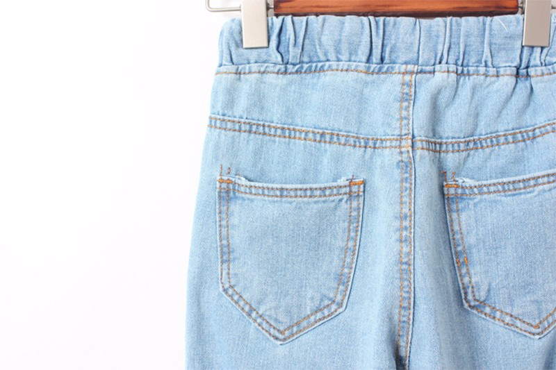 2017 Women New Trousers High Waist Famale Elastic Waist Mom Jeans Loose Washed Pencil Big Size Casual Full Length Jeans Pants