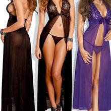 Laies Hot Sexy Lingerie Lace Dress Underwear Black Babydoll Sleepwear G string H