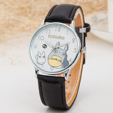 2015 New Totoro Pattern Cartoon Watches Women Luxury Brand Fashion Leather Strap Quartz Watch Ladies Wristwatch Relojes Clock