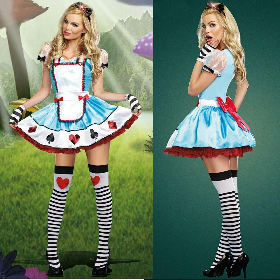 Fashion Blue Poker Princess Anna Dress + Hair Hoop Adult Halloween Lolita Maid Cosplay Costumes Suit Women Clothing Apparel - Eshopping Store store