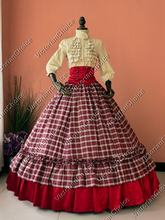 Civil War Victorian 3PC Ball Gown Reenactment Masquerade Tartan Dress Women Halloween Costume