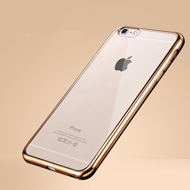 for iPhone 4 4S 5 5S SE 5SE 6 6S 7 Plus Crystal Soft Silicone Plating Clear TPU Case Ultra Thin Transparent Rubber Back Cover