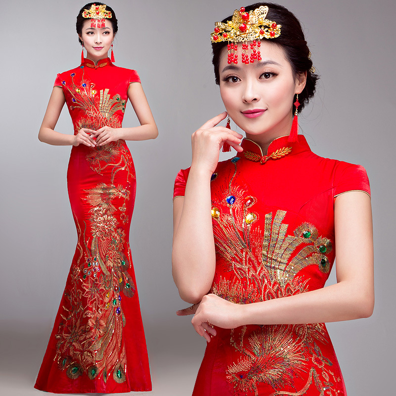 High end luxury sexy embroidery red chinese traditional for Traditional red chinese wedding dress