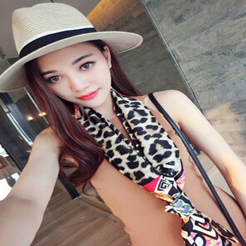 New Fashion Women Summer Beach Towel Pashmina Sexy Leopard Printed Silk Shawl Scarves for Women 17 Colors Options(China (Mainland))