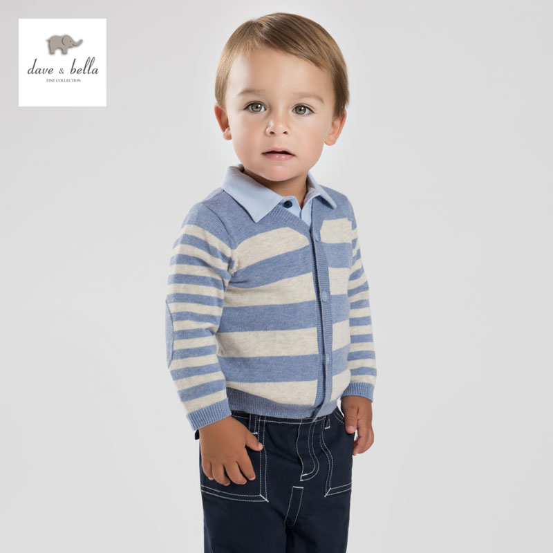 DB3820 dave bella autumn baby boy striped cardigan kids preppy style sweater boys blue cardigans children clothes(China (Mainland))
