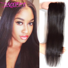 Cheap 3 Way Part Silk Base Closure 4×4 Brazilian Virgin Hair Straight Lace Closure 100%  Human Hair Closure With Bleached Knots