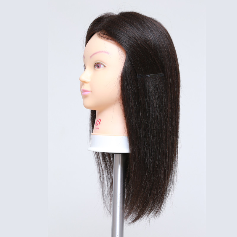 16″ Nature Black Dummy Mannequin Head 100 Human Hair Unprocessed Hairdressing Mannequin Training Head with Hair for Salon School
