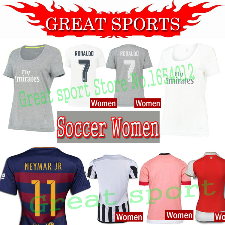soccer jersey real madrid womens 15/ 16 Home White women football shirt 2015 2016 RONALDO James femmes girl Ladies maillot de(China (Mainland))