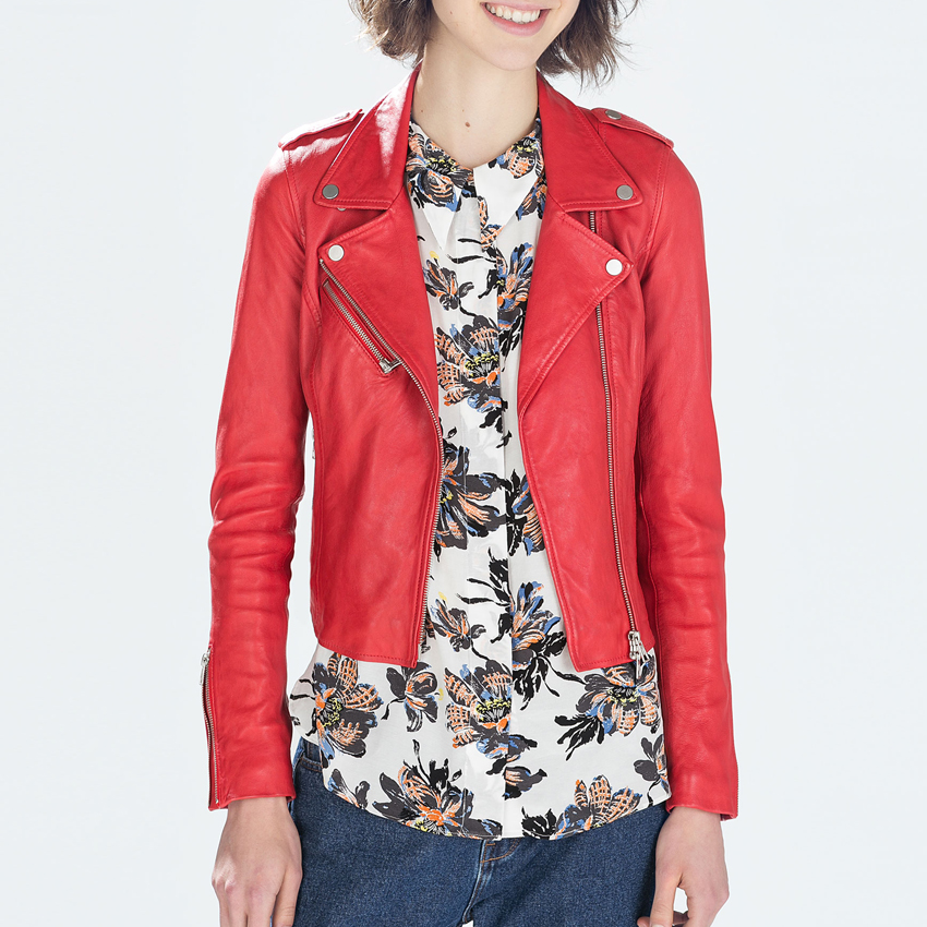 Leather jacket women 2016 spring women leather clothing for Red leather shirt for womens