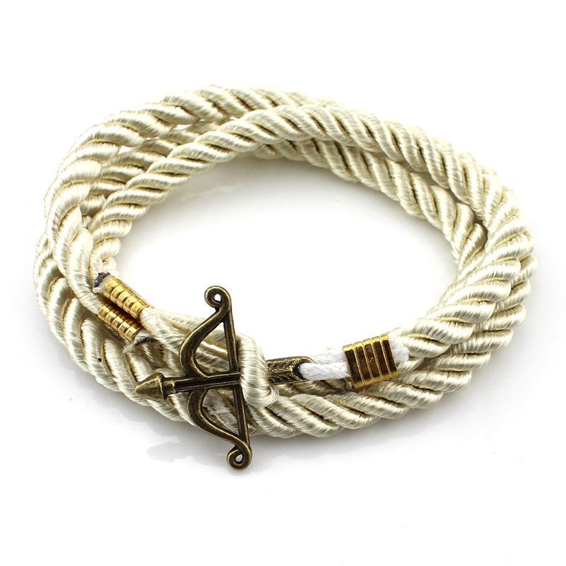 2017 New Arrive DIY Rope Black Anchor Bracelet Fashion Women Men Hooks Bracelet Wholesale Bangle Charm Bracelets Punk Jewelry