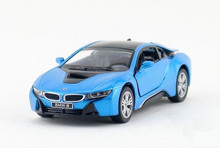 Free shipping Kinsmart  1:36 i8 Concept car  Alloy model toys Leap to jump  Children like the gift(China (Mainland))