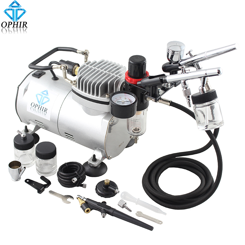 OPHIR 3x Airbrush Gun Dual-Action & Single-Action airbrush Kit Air Compressor for Cake Decoration Car Paint _AC089+004A+071+072
