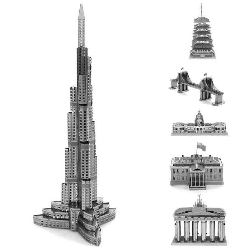 New 3D Jigsaw Puzzles for Kids 3D Nano Metal DIY Scale Model Building Architecture Educational Puzzles Toy for Toddlers FCI#(China (Mainland))