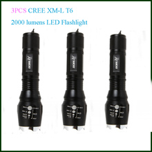 3 pieces Set  Free Shipping 2000 lm led torch light/lamp Portable flashlight led flashlight on bike(China (Mainland))