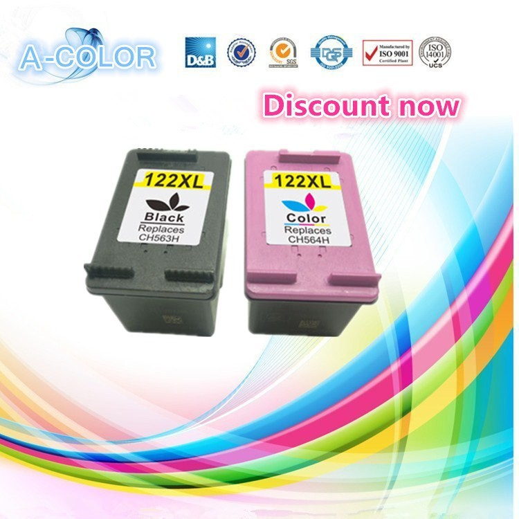 2 Piece Ink Cartridge For HP 122 122XL Black & Tri-color Ink Cartridge For HP Deskjet 1000 1050 2000 2050 3000 3050A 3052A(China (Mainland))