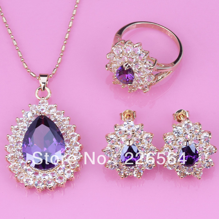Wholesale& Retail Classy Purple Amethyst White Topaz 18k Gold Plated Earrings Ring Necklace Pendant Sets T044(China (Mainland))