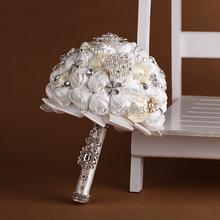 Hechos a mano de calidad superior con cuentas de seda broche nupcial de la boda ramo de dama de honor europa ee.uu. azul blanco flor Artificial Sp8549s(China (Mainland))