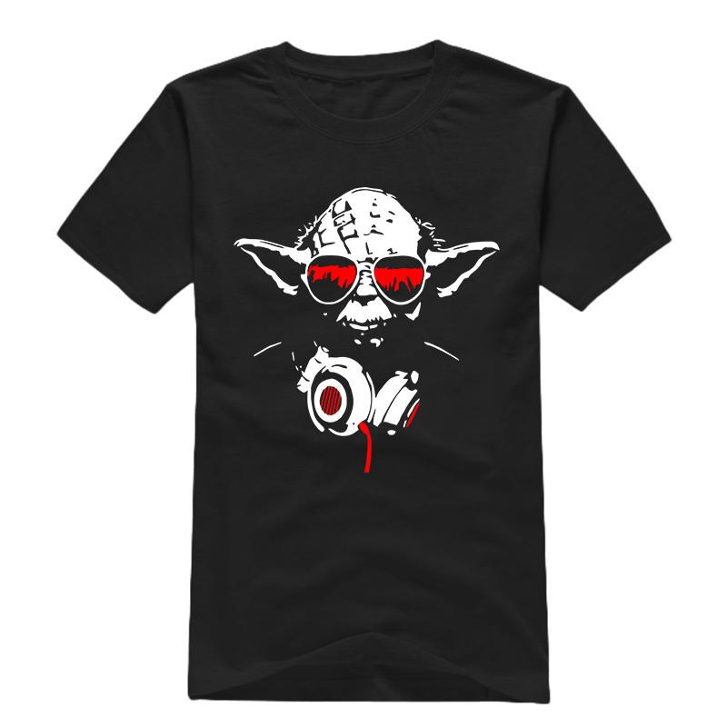 HOT Star Wars Men T Shirts Printing Round Neck Short Sleeve Jedi Yoda Headphone t-shirts Top Quality Man Cartoon Tee Shirt Sale(China (Mainland))