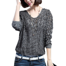 2016 Autumn V-neck long-sleeved sweater women loose hollow batwing sleeve sweater casual women tops solid color free shipping(China (Mainland))