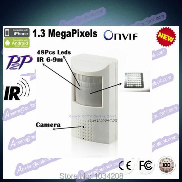 H264 1.3MP 960P Microphone IR Night Vision IP Hidden Pir Camera Motion Detector Onvif P2P Plug And Play Security Network Camera()