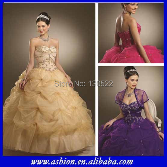 QD-066 beautiful quinceanera dress cheap gold prom dresses ball gown