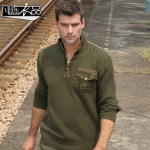 2016 winter new arrive Thick sweater male loose plus size sweater military outdoor casual cotton shirt outerwear(China (Mainland))