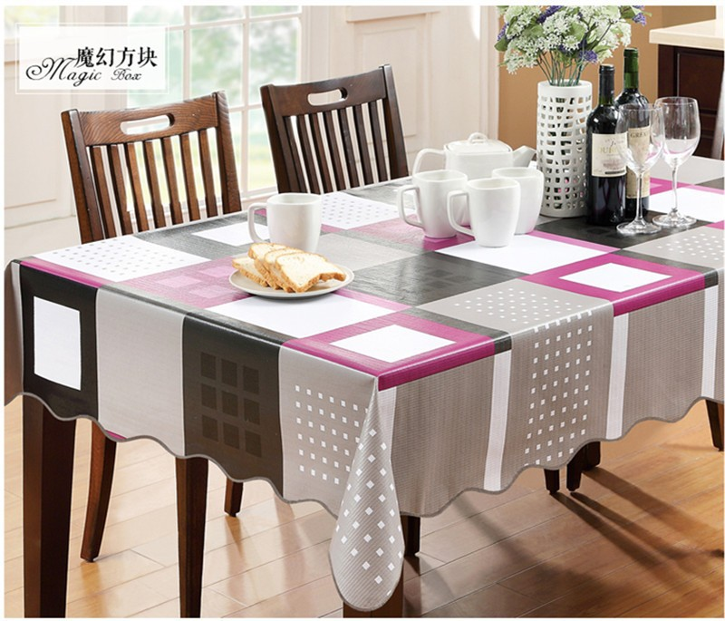 YD Europe waterproof table cover Magic Box plastic PVC tablecloth No-clean oilproof dining table cover table cloth table dining(China (Mainland))