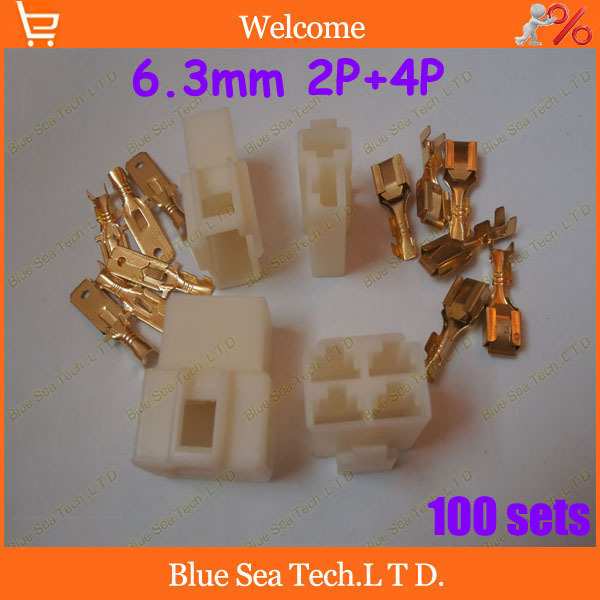 100 sets total 800pcs 6.3mm 2P&amp;4P Electrical Connector Kits Male Female socket plug for Motorcycle Car Free shipping<br><br>Aliexpress