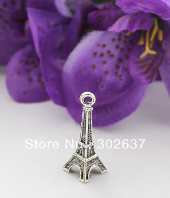 FREE SHIPPING 60PCS Antiqued silver eiffel tower charms #22604